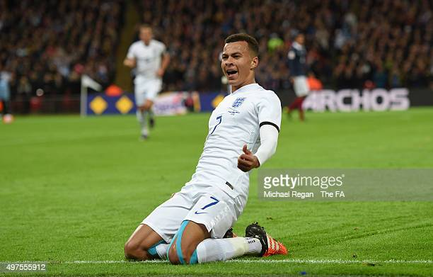 Dele Alli of England celebrates after scoring his sides opening goal during the International Friendly match between England and France at Wembley...