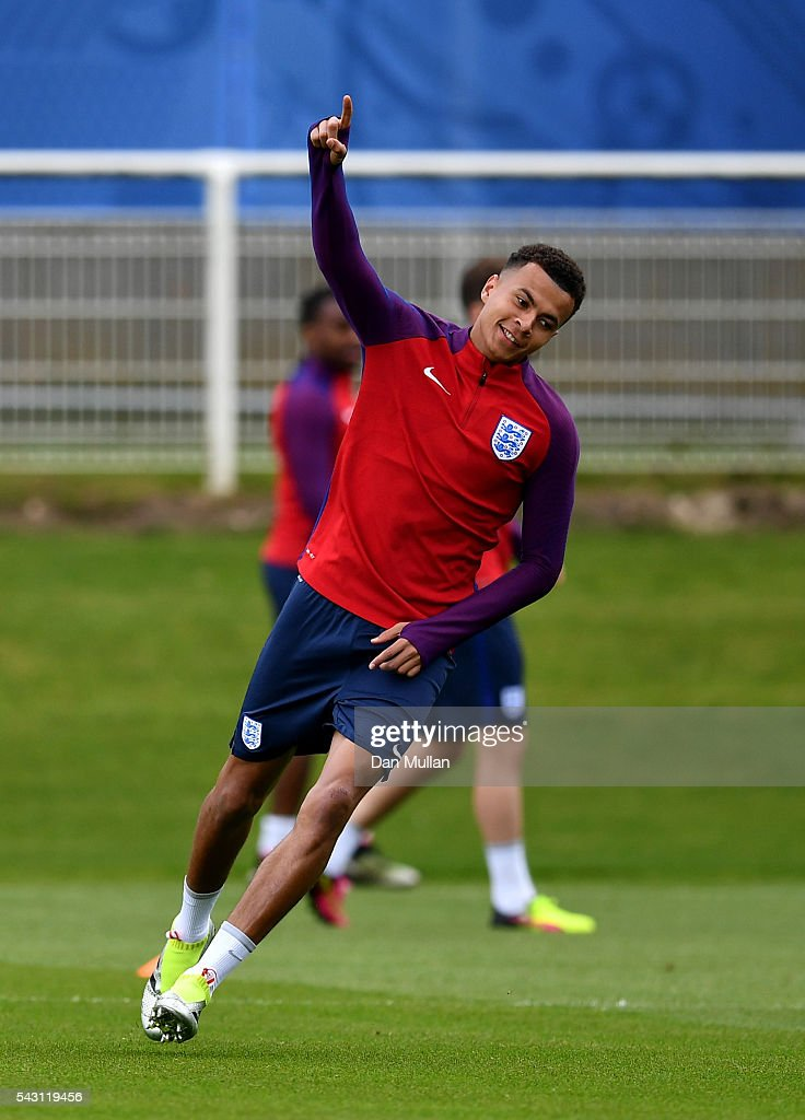 <a gi-track='captionPersonalityLinkClicked' href=/galleries/search?phrase=Dele+Alli&family=editorial&specificpeople=9976958 ng-click='$event.stopPropagation()'>Dele Alli</a> of England celebrates during a training session ahead of the UEFA Euro 2016 match against Iceland at Stade du Bourgognes on June 26, 2016 in Chantilly, France.