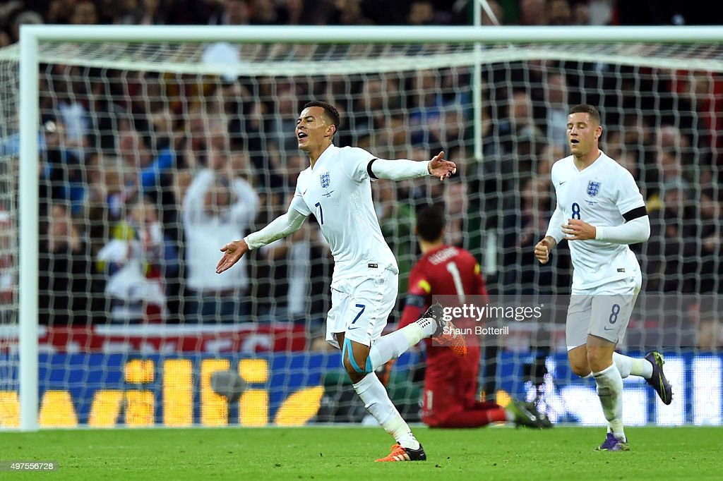 Dele Alli of England celebrates scores his team's first goal during the International Friendly match between England and France at Wembley Stadium on November 17, 2015 in London, England.