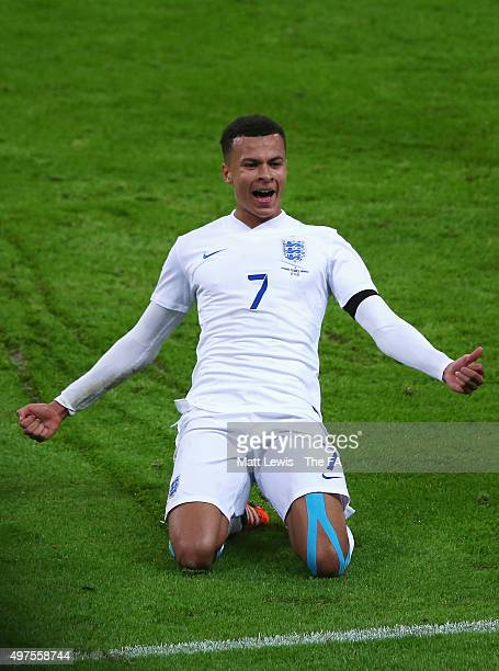 Dele Alli of England celebrates scoring his teams first goal during the International Friendly match between England and France at Wembley Stadium on...
