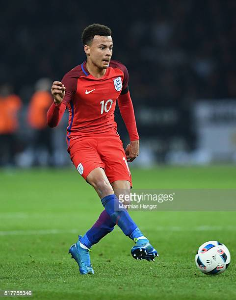Dele Alli of England controls the ball during the International Friendly match between Germany and England at Olympiastadion on March 26 2016 in...