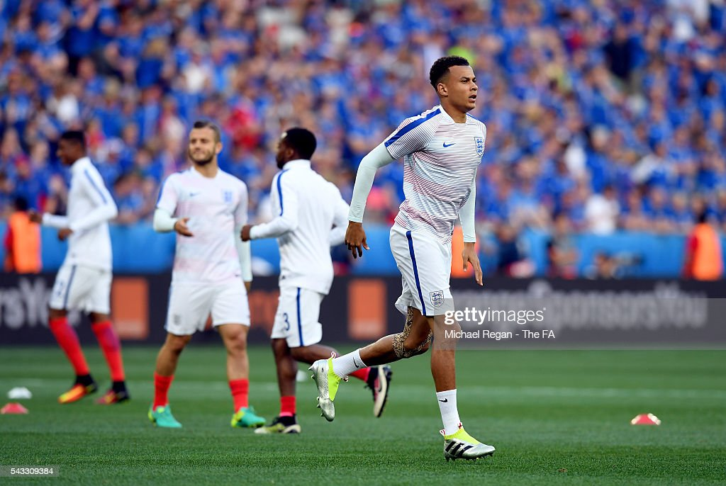 <a gi-track='captionPersonalityLinkClicked' href=/galleries/search?phrase=Dele+Alli&family=editorial&specificpeople=9976958 ng-click='$event.stopPropagation()'>Dele Alli</a> of England during the pre match warm up prior to the UEFA EURO 2016 round of 16 match between England and Iceland at Allianz Riviera Stadium on June 27, 2016 in Nice, France.