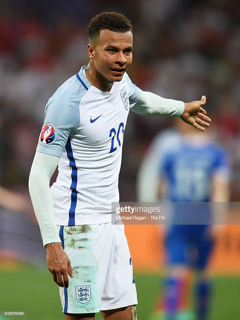 <a gi-track='captionPersonalityLinkClicked' href=/galleries/search?phrase=Dele+Alli&family=editorial&specificpeople=9976958 ng-click='$event.stopPropagation()'>Dele Alli</a> of England gestures during the UEFA EURO 2016 round of 16 match between England and Iceland at Allianz Riviera Stadium on June 27, 2016 in Nice, France.