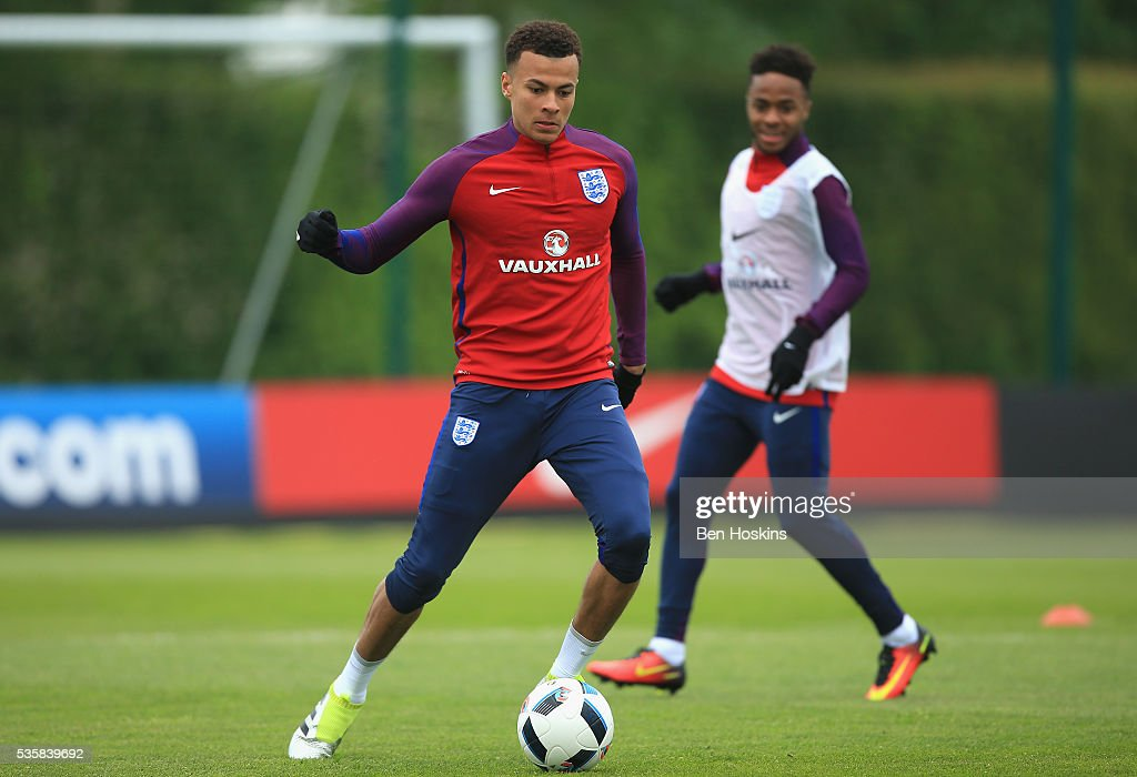 <a gi-track='captionPersonalityLinkClicked' href=/galleries/search?phrase=Dele+Alli&family=editorial&specificpeople=9976958 ng-click='$event.stopPropagation()'>Dele Alli</a> of England in action during an England training session at London Colney on May 30, 2016 near St Albans, England.