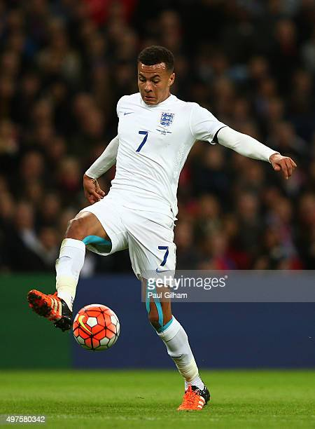 Dele Alli of England in action during the International Friendly match between England and France at Wembley Stadium on November 17 2015 in London...