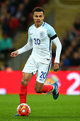 Dele Alli of England in action during the International Friendly match between England and Netherlands at Wembley Stadium on March 29 2016 in London...