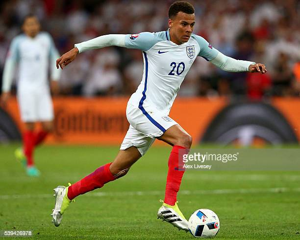 Dele Alli of England in action during the UEFA EURO 2016 Group B match between England and Russia at Stade Velodrome on June 11 2016 in Marseille...