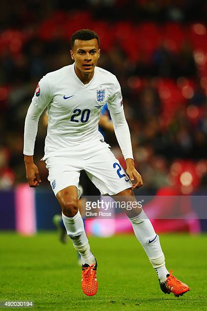 Dele Alli of England in action during the UEFA EURO 2016 Group E qualifying match between England and Estonia at Wembley on October 9 2015 in London...