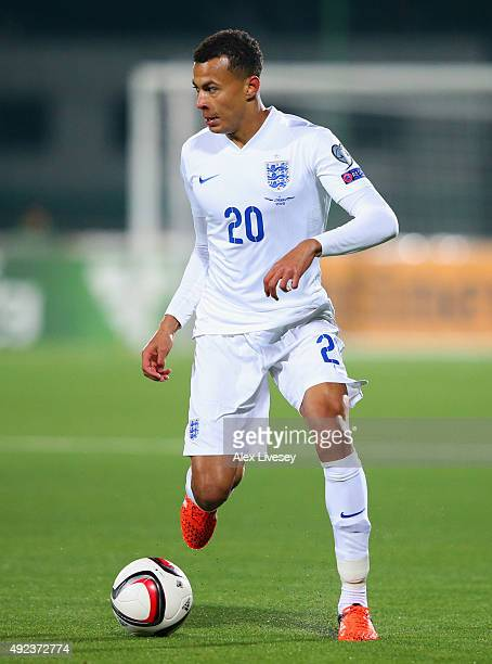 Dele Alli of England in action during the UEFA EURO 2016 qualifying Group E match between Lithuania and England at LFF Stadionas on October 12 2015...