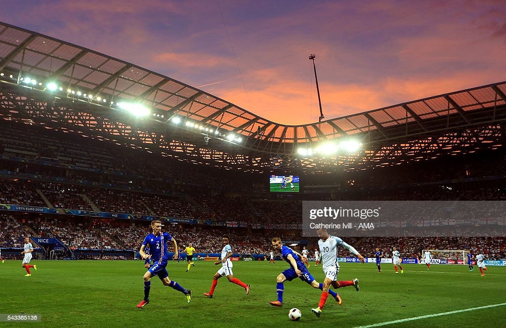 <a gi-track='captionPersonalityLinkClicked' href=/galleries/search?phrase=Dele+Alli&family=editorial&specificpeople=9976958 ng-click='$event.stopPropagation()'>Dele Alli</a> of England in action during the UEFA Euro 2016 Round of 16 match between England and Iceland at Allianz Riviera Stadium on June 27, 2016 in Nice, France.