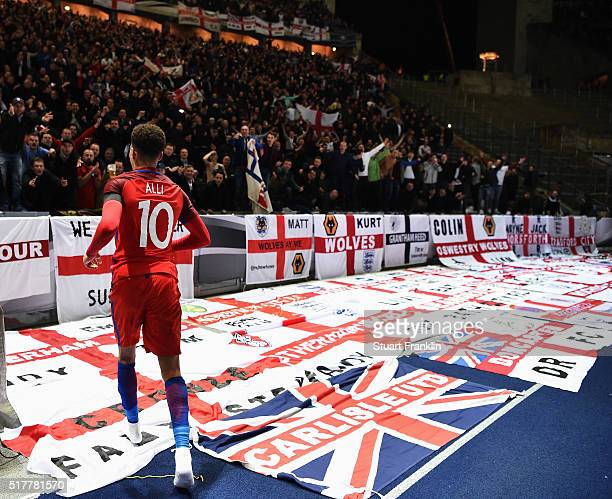 Dele Alli of England runs to the fans during the international friendly match between Germany and England at Olympiastadion on March 26 2016 in...