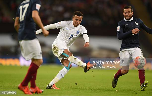 Dele Alli of England scores his sides opening goal during the International Friendly match between England and France at Wembley Stadium on November...