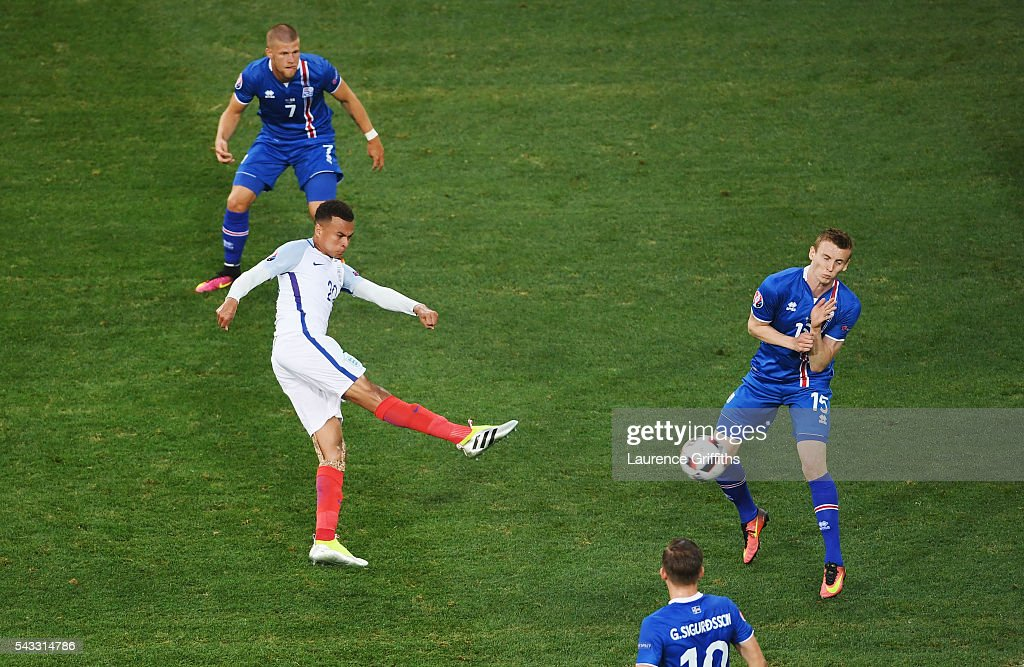 <a gi-track='captionPersonalityLinkClicked' href=/galleries/search?phrase=Dele+Alli&family=editorial&specificpeople=9976958 ng-click='$event.stopPropagation()'>Dele Alli</a> of England shoots at goal during the UEFA EURO 2016 round of 16 match between England and Iceland at Allianz Riviera Stadium on June 27, 2016 in Nice, France.