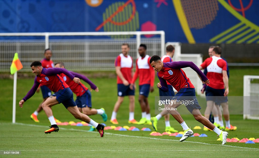 <a gi-track='captionPersonalityLinkClicked' href=/galleries/search?phrase=Dele+Alli&family=editorial&specificpeople=9976958 ng-click='$event.stopPropagation()'>Dele Alli</a> of England warms up during a training session ahead of the UEFA Euro 2016 match against Iceland at Stade du Bourgognes on June 26, 2016 in Chantilly, France.