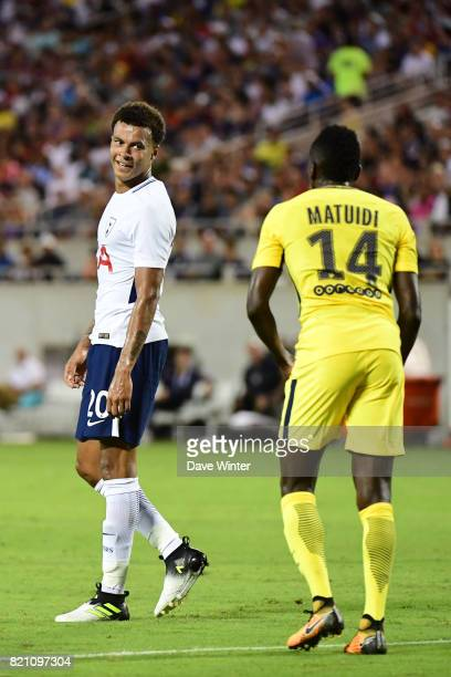 Dele Alli of Spurs and Blaise Matuidi of PSG during the International Champions Cup match between Paris Saint Germain and Tottenham Hotspur on July...