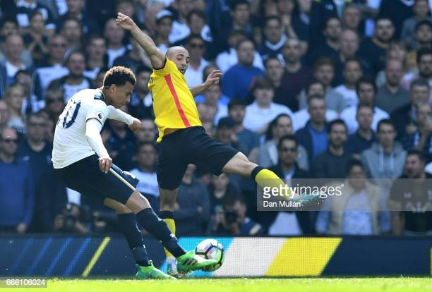 Dele Alli of Totenham Hotspur scores his sides first goal during the Premier League match between Tottenham Hotspur and Watford at White Hart Lane on...