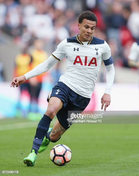 Dele Alli of Tottenham during the Emirates FA Cup SemiFinal match between Tottenham Hotspur and Chelsea at Wembley Stadium on April 22 2017 in London...