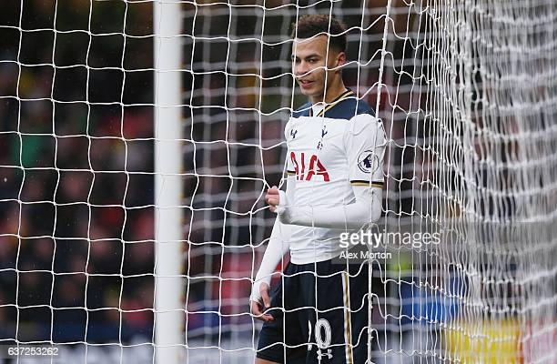 Dele Alli of Tottenham during the Premier League match between Watford and Tottenham Hotspur at Vicarage Road on January 1 2017 in Watford England