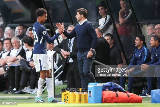 Dele Alli of Tottenham Hotspur ad Mauricio Pochettino head coach / manager of Tottenham Hotspur during the Premier League match between Newcastle...