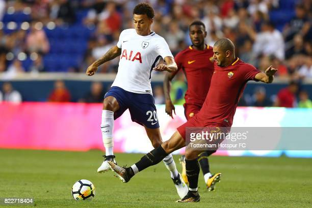 Dele Alli of Tottenham Hotspur and Bruno Peres of Roma vie for the ball during the International Champions Cup 2017 at Red Bull Arena on July 25 2017...