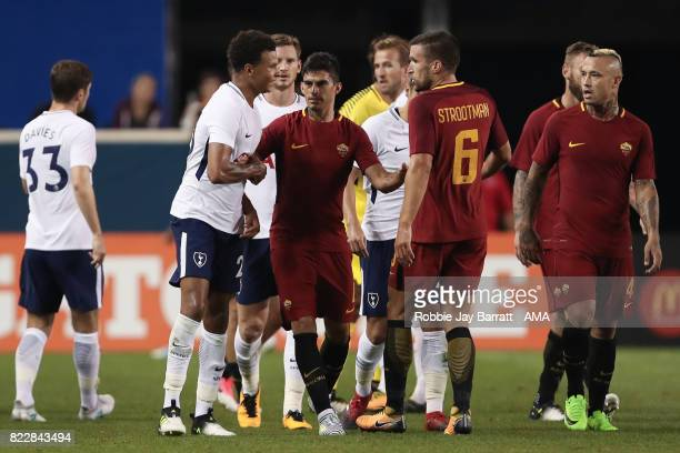 Dele Alli of Tottenham Hotspur and Kevin Strootman of AS Roma have a disagreement during the International Champions Cup 2017 match between Tottenham...