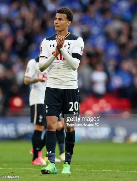 Dele Alli of Tottenham Hotspur applauds supporters during The Emirates FA Cup SemiFinal between Chelsea and Tottenham Hotspur at Wembley Stadium on...