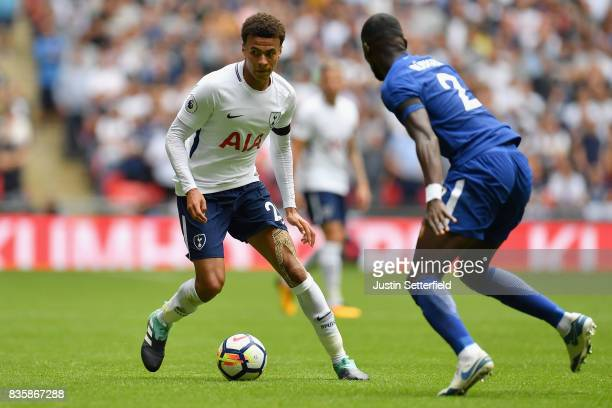 Dele Alli of Tottenham Hotspur attempts to get past Antonio Rudiger of Chelsea during the Premier League match between Tottenham Hotspur and Chelsea...