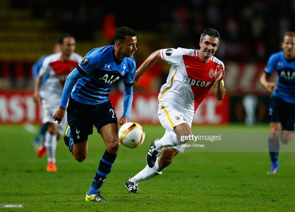 Dele Alli of Tottenham Hotspur breaks with the ball during the UEFA Europa League group J match between AS Monaco FC and Tottenham Hotspur FC at...