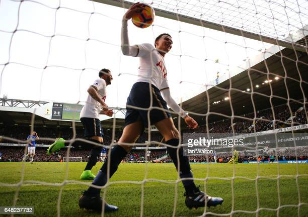 Dele Alli of Tottenham Hotspur celebrates after he scores his sides third goal during the Premier League match between Tottenham Hotspur and Everton...