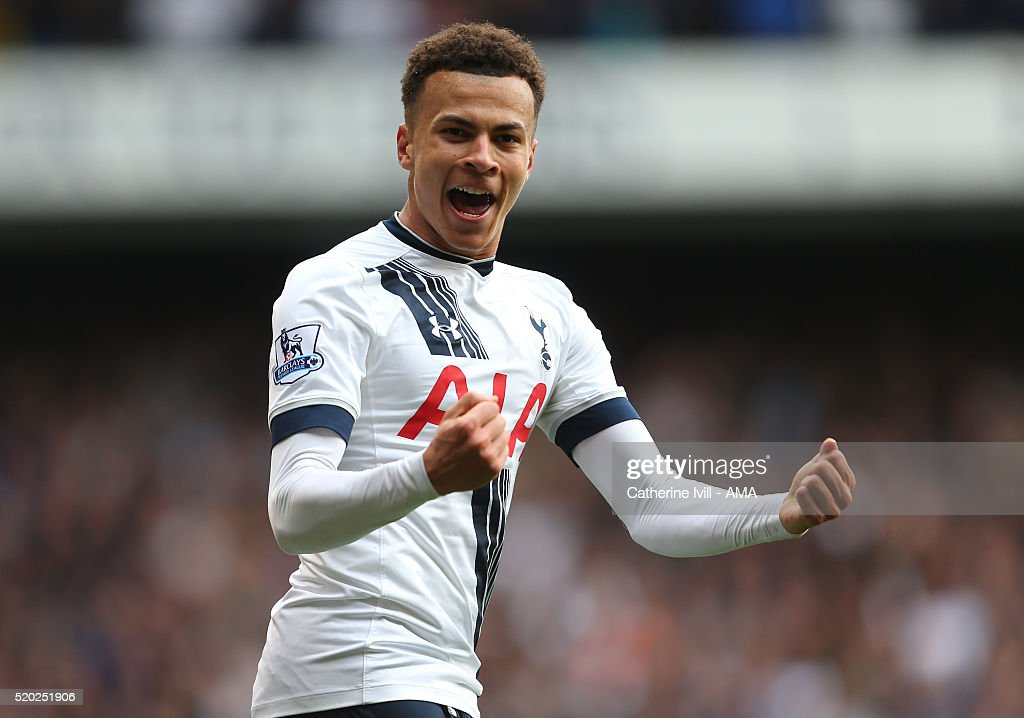 Dele Alli of Tottenham Hotspur celebrates after he scores to make it 1-0 during the Barclays Premier League match between Tottenham Hotspur and Manchester United at White Hart Lane on April 10, 2016 in London, England.