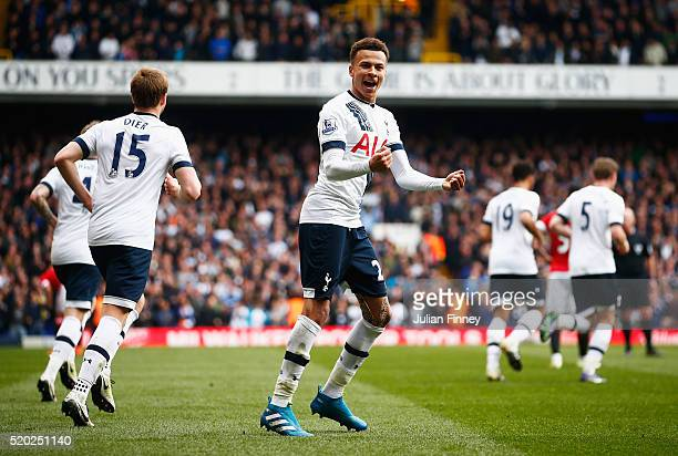 Dele Alli of Tottenham Hotspur celebrates as he scores their first goal during the Barclays Premier League match between Tottenham Hotspur and...