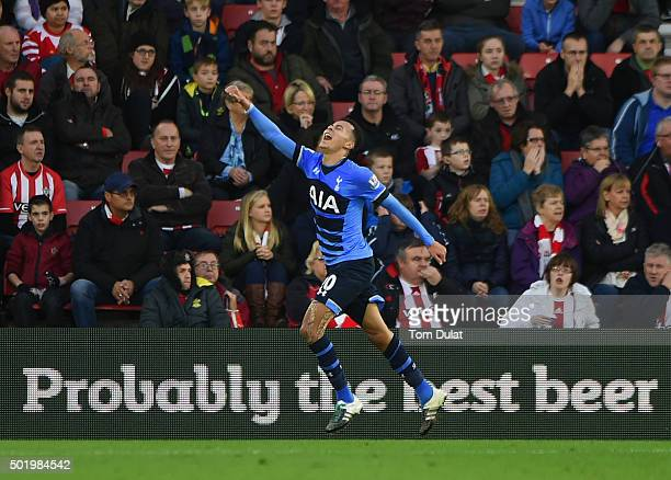 Dele Alli of Tottenham Hotspur celebrates as he scores their second goal during the Barclays Premier League match between Southampton and Tottenham...
