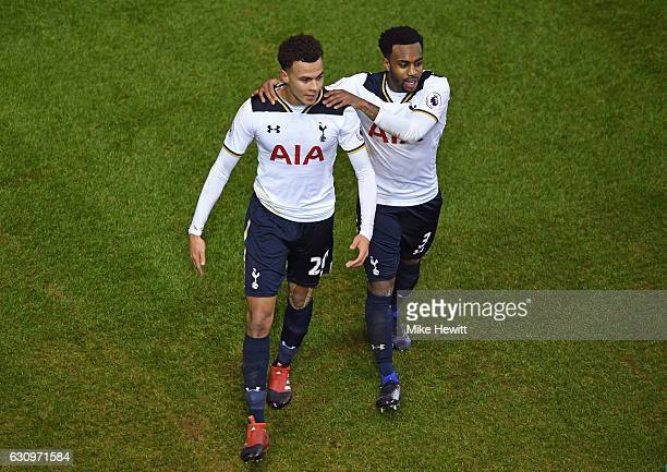 Dele Alli of Tottenham Hotspur celebrates scoring his sides first goal with Danny Rose of Tottenham Hotspur during the Premier League match between...