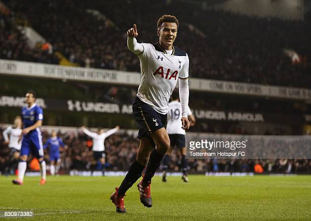Dele Alli of Tottenham Hotspur celebrates scoring his sides first goal during the Premier League match between Tottenham Hotspur and Chelsea at White...