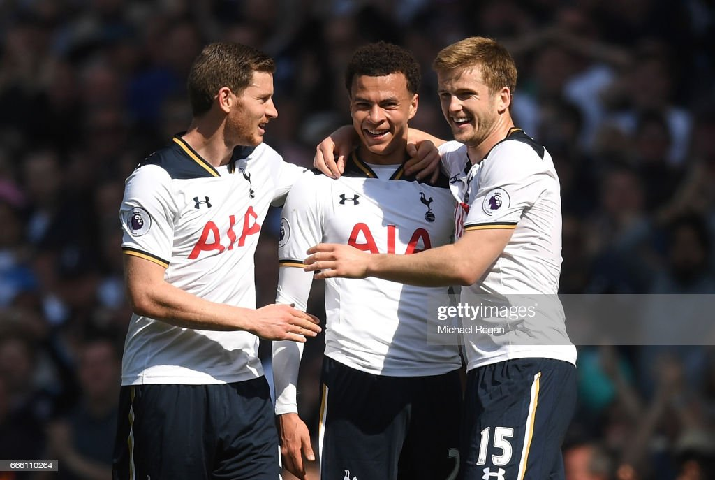 Dele Alli of Tottenham Hotspur celebrates scoring his sides firt goal with Jan Vertonghen of Tottenham Hotspur and Eric Dier of Tottenham Hotspur during the Premier League match between Tottenham Hotspur and Watford at White Hart Lane on April 8, 2017 in London, England.