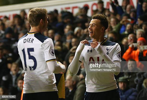 Dele Alli of Tottenham Hotspur celebrates scoring his sides second goal with Eric Dier of Tottenham Hotspur during the Premier League match between...