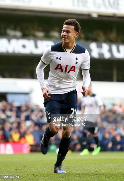 Dele Alli of Tottenham Hotspur celebrates scoring his sides second goal during the Premier League match between Tottenham Hotspur and Southampton at...