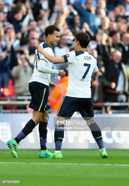 Dele Alli of Tottenham Hotspur celebrates scoring his sides second goal with HeungMin Son of Tottenham Hotspur during The Emirates FA Cup SemiFinal...