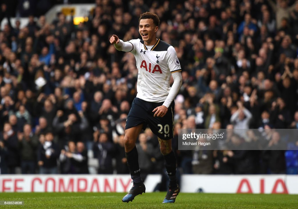 Dele Alli of Tottenham Hotspur celebrates scoring his teams fourth goal during the Premier League match between Tottenham Hotspur and Stoke City at White Hart Lane on February 26, 2017 in London, England.
