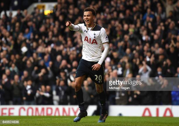 Dele Alli of Tottenham Hotspur celebrates scoring his teams fourth goal during the Premier League match between Tottenham Hotspur and Stoke City at...