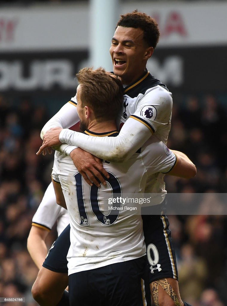 Dele Alli of Tottenham Hotspur celebrates scoring his teams fourth goal with teammate Harry Kane during the Premier League match between Tottenham Hotspur and Stoke City at White Hart Lane on February 26, 2017 in London, England.