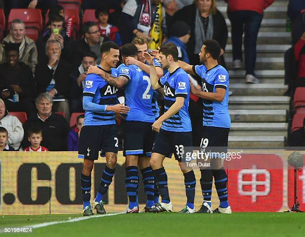 Dele Alli of Tottenham Hotspur celebrates with team mates as he scores their second goal during the Barclays Premier League match between Southampton...