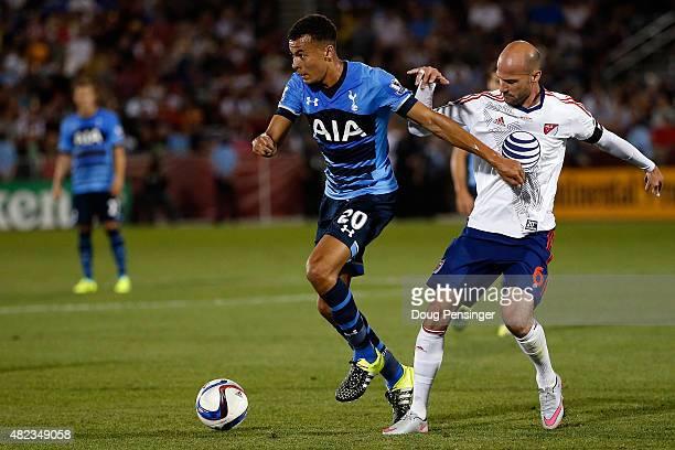 Dele Alli of Tottenham Hotspur controls the ball against Laurent Ciman of MLS AllStars during the 2015 ATT Major League Soccer AllStar game at Dick's...