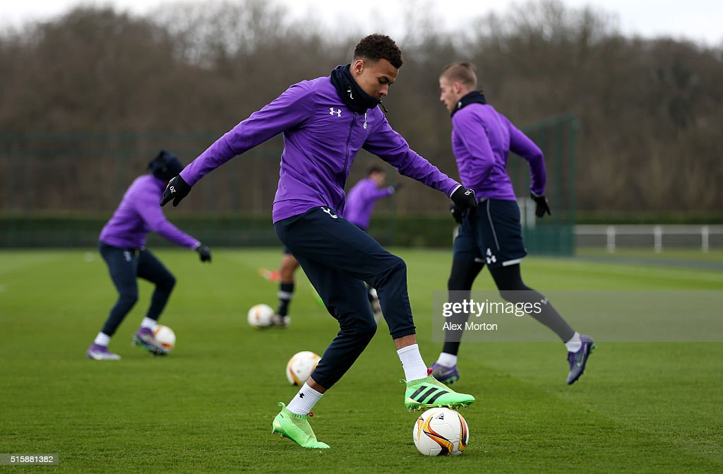 Dele Alli of Tottenham Hotspur controls the ball during a training session ahead of the UEFA Europa League Round of 16, second leg match between Tottenham Hotspur FC and Borussia Dortmund at White Hart Lane on March 16, 2016 in Enfield, England.