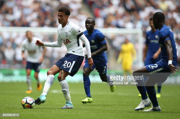 Dele Alli of Tottenham Hotspur during the Premier League match between Tottenham Hotspur and Chelsea at Wembley Stadium on August 20 2017 in London...