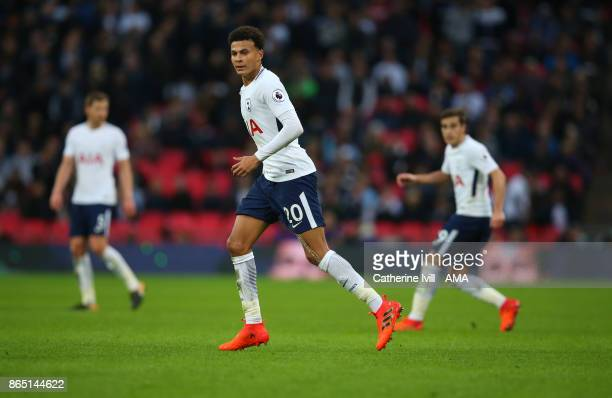 Dele Alli of Tottenham Hotspur during the Premier League match between Tottenham Hotspur and Liverpool at Wembley Stadium on October 22 2017 in...