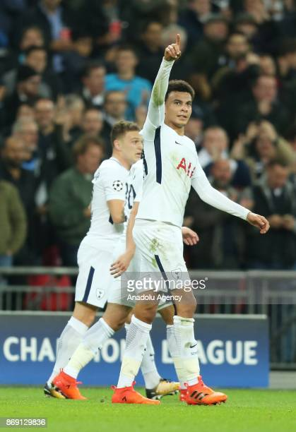 Dele Alli of Tottenham Hotspur FC celebrates after scoring a goal during the UEFA Champions League Group H soccer match between Tottenham Hotspur FC...