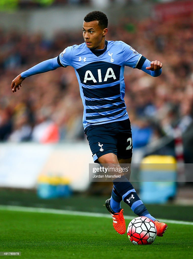 Dele Alli of Tottenham Hotspur in action during the Barclays Premier League match between Swansea City and Tottenham Hotspur at Liberty Stadium on October 4, 2015 in London, England.