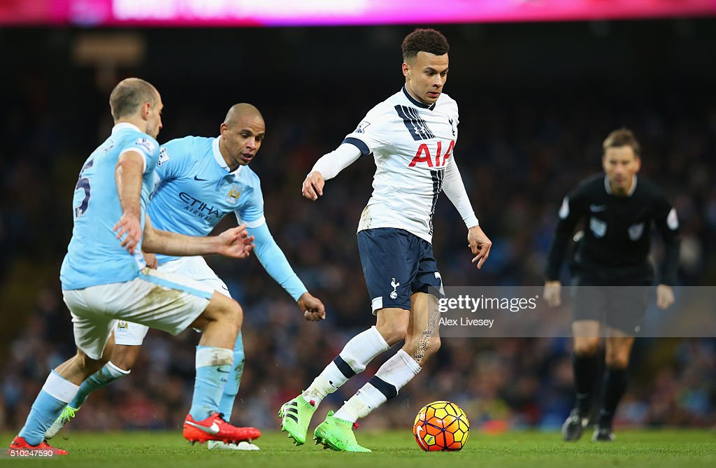 <a gi-track='captionPersonalityLinkClicked' href=/galleries/search?phrase=Dele+Alli&family=editorial&specificpeople=9976958 ng-click='$event.stopPropagation()'>Dele Alli</a> of Tottenham Hotspur in action during the Barclays Premier League match between Manchester City and Tottenham Hotspur at Etihad Stadium on February 14, 2016 in Manchester, England.