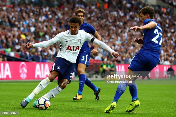 Dele Alli of Tottenham Hotspur in action with Andreas Christensen of Chelsea during the Premier League match between Tottenham Hotspur and Chelsea at...